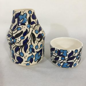 Hand Made Ceramics Water Bottle and Cup Set Blue