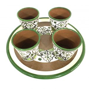 Hand Made Ceramics Set - Tray with 4 Coffee Cups - Green and Brown