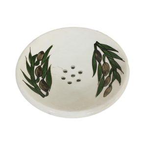 Hand Made Ceramics Soap Dish - Olive Leaves
