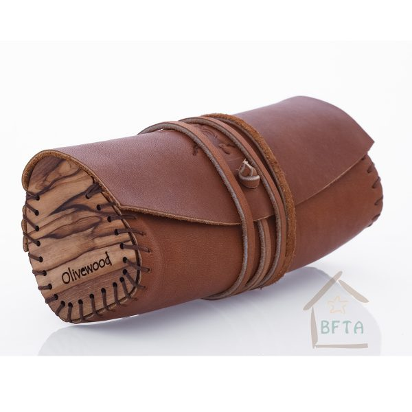 Leather and olivewood Bag