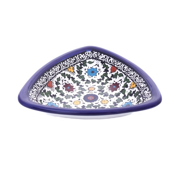 Hand Made Ceramic Floral Serving Plate small Triangle Shape