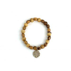 Handmade Olive Wood Bracelet - Jerusalem Cross