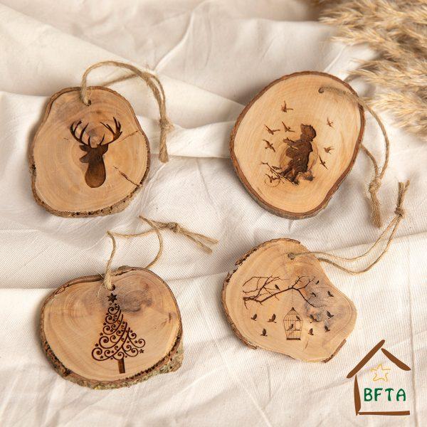 Olive Wood bark tree or decoration Ornemants set of 4 pack