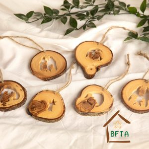 Olive Wood bark tree or decoration Ornaments set of 6 Christmas Specials