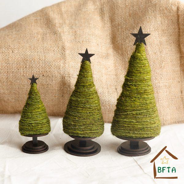 Woven Sheep Wool Christmas Tree Set 3 Sizes (Green)