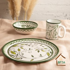 Olive Green Hand Made Ceramic Kitchen Gift set of a mug, Serving Plate and Bowl
