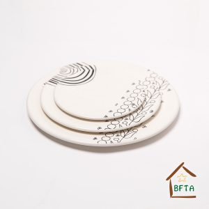 Hand Made Ceramic Plates with unique pattern comes in two collars white and grey