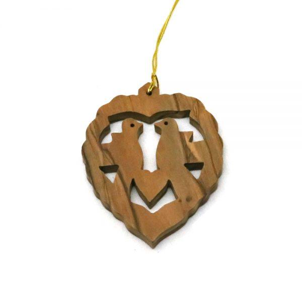 Olive Wood Ornament – 2 Birds